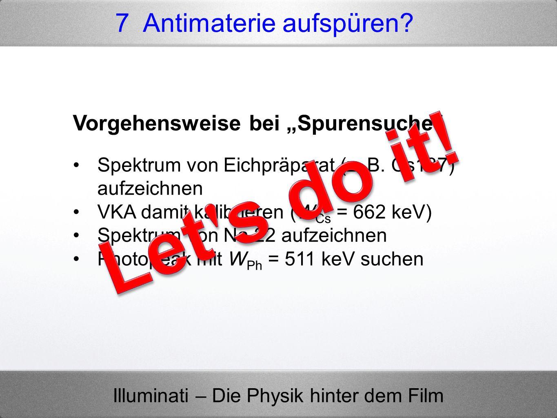 """Let s do it! 7 Antimaterie aufspüren Vorgehensweise bei """"Spurensuche"""