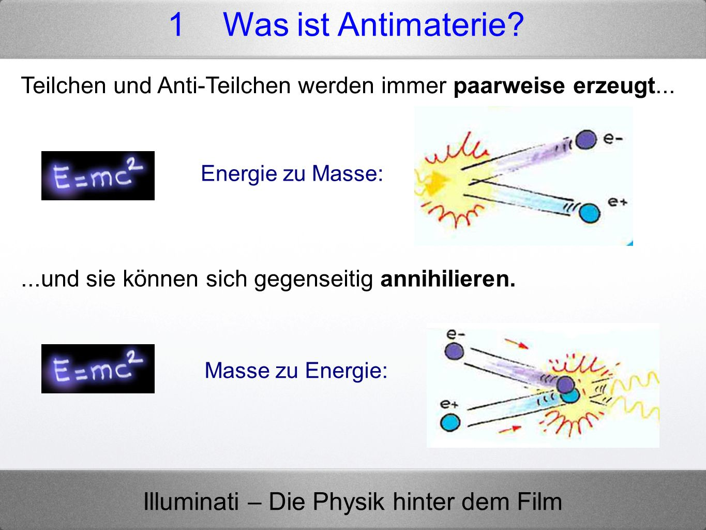 1 Was ist Antimaterie Teilchen und Anti-Teilchen werden immer paarweise erzeugt... Energie zu Masse: