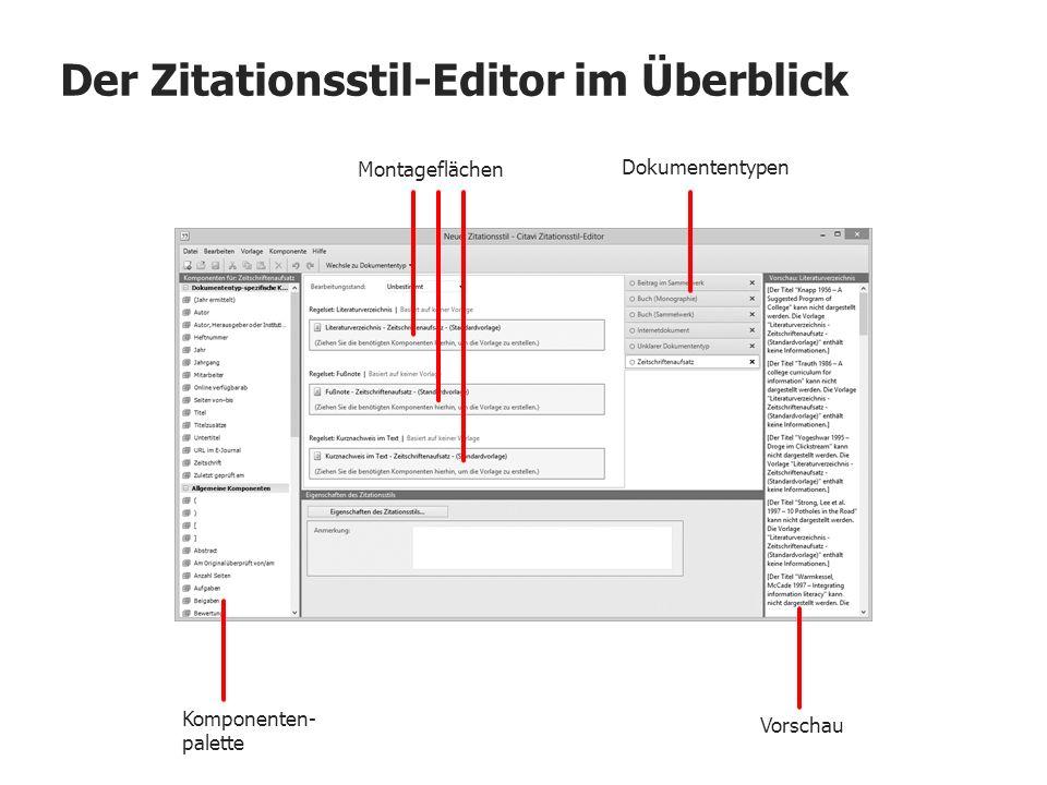 Der Zitationsstil-Editor im Überblick