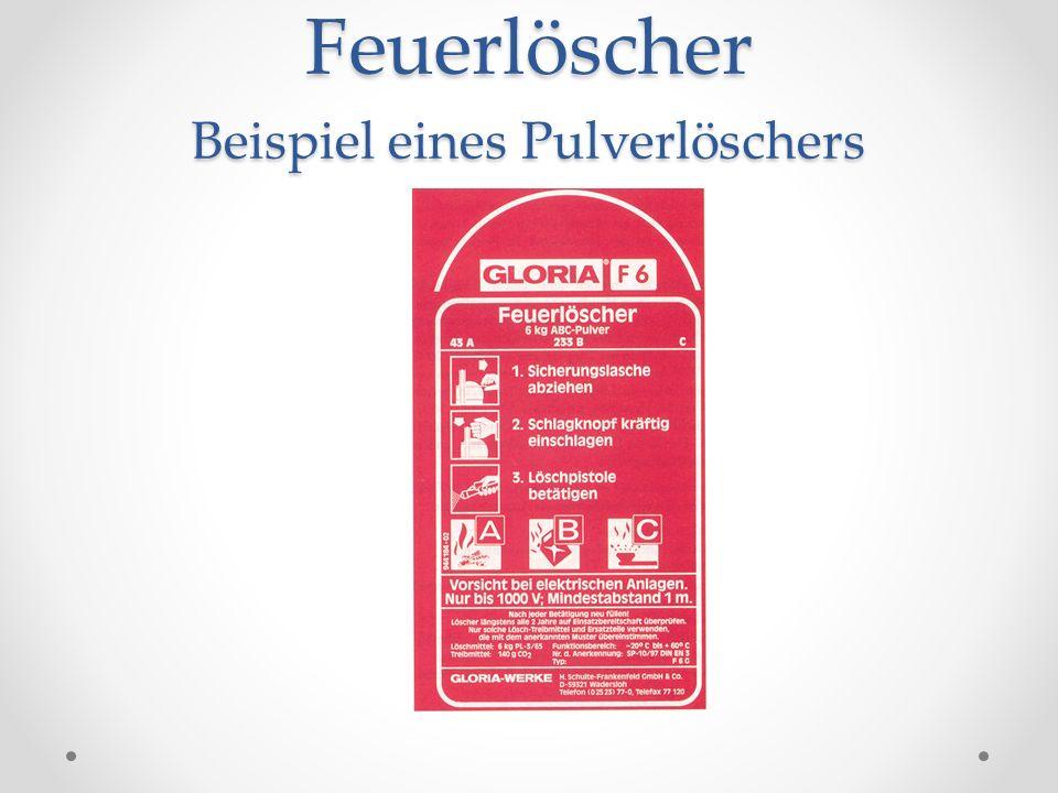 Feuerlöscher Beispiel eines Pulverlöschers
