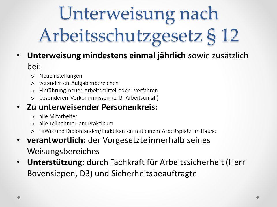 Unterweisung nach Arbeitsschutzgesetz § 12
