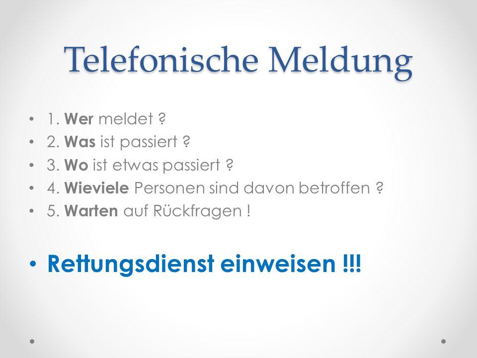 Telefonische Meldung Rettungsdienst einweisen !!! 1. Wer meldet