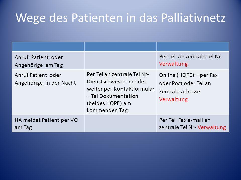 Wege des Patienten in das Palliativnetz