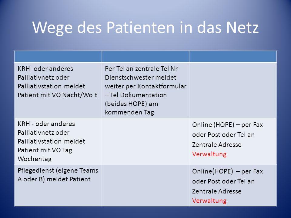 Wege des Patienten in das Netz