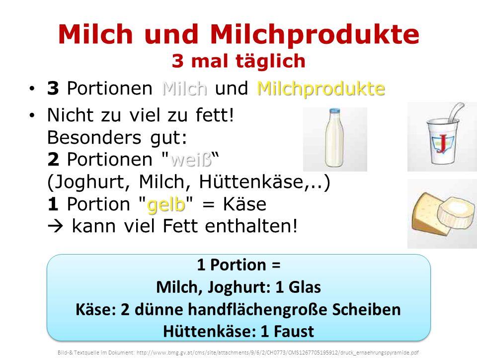 Milch und Milchprodukte 3 mal täglich