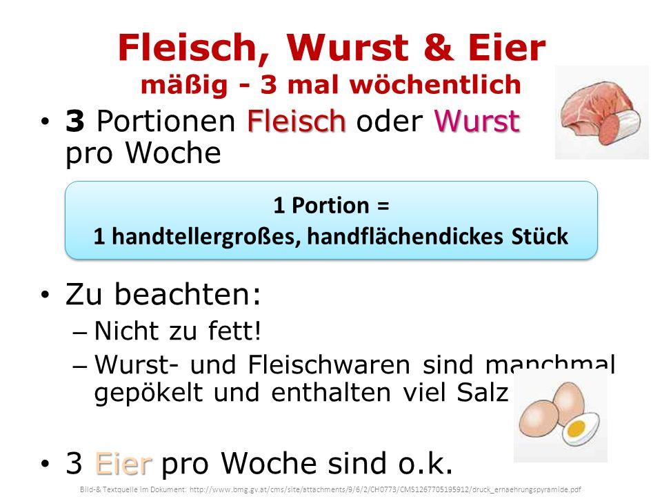 Fleisch, Wurst & Eier mäßig - 3 mal wöchentlich