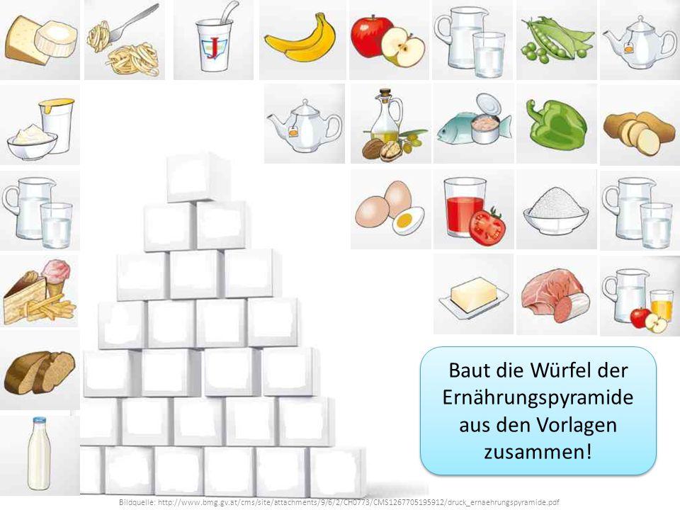 Baut die Würfel der Ernährungspyramide aus den Vorlagen zusammen!