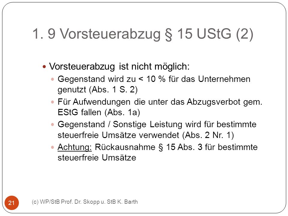1. 9 Vorsteuerabzug § 15 UStG (2)
