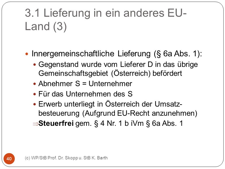 3.1 Lieferung in ein anderes EU-Land (3)