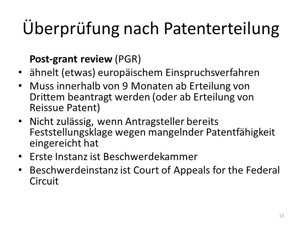 Überprüfung nach Patenterteilung