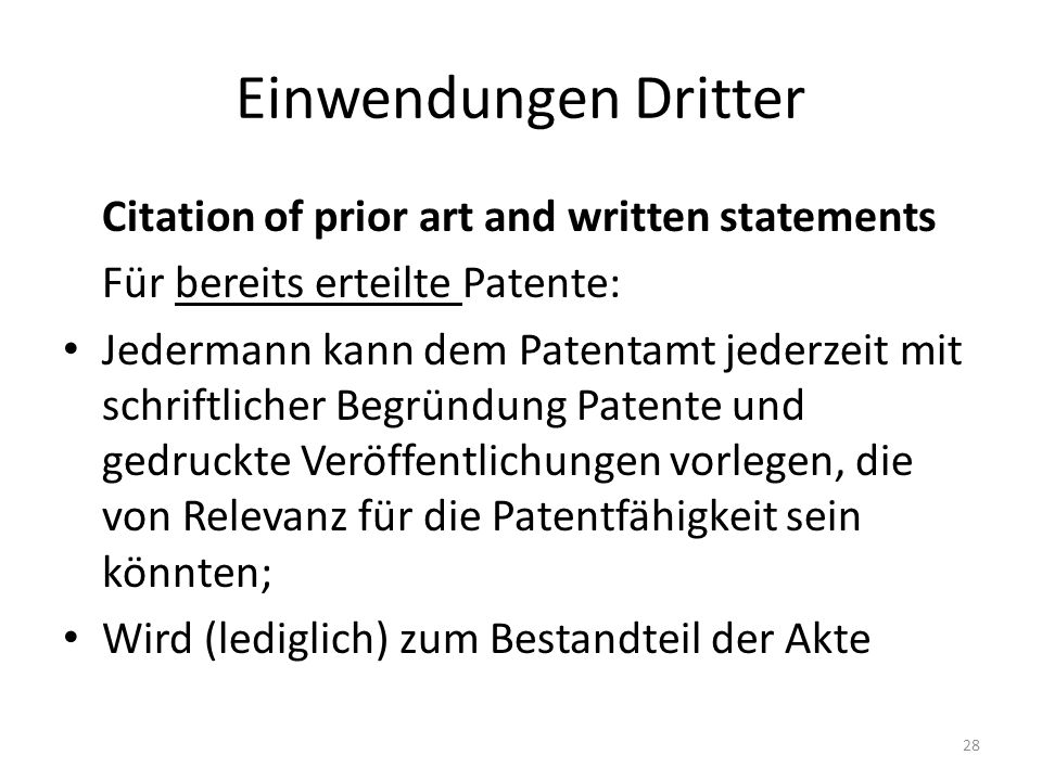 Einwendungen Dritter Citation of prior art and written statements