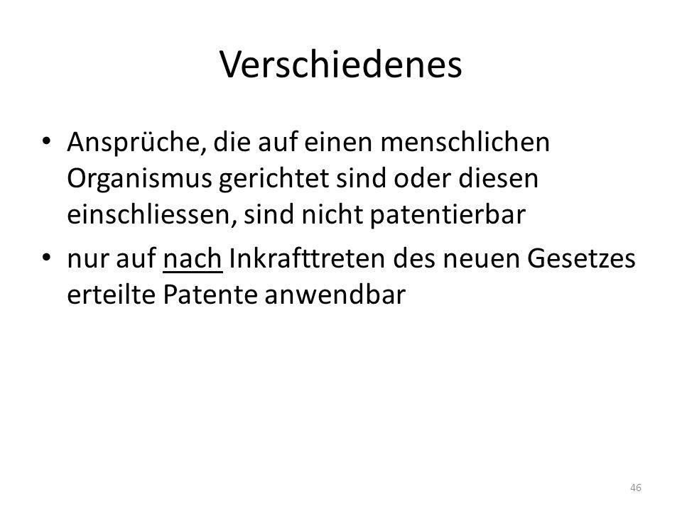Verschiedenes Ansprüche, die auf einen menschlichen Organismus gerichtet sind oder diesen einschliessen, sind nicht patentierbar.