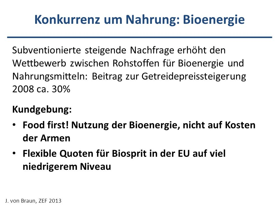 Konkurrenz um Nahrung: Bioenergie