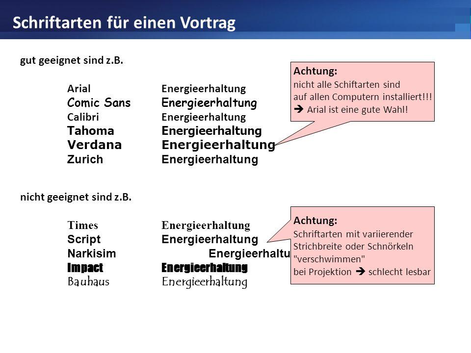 Schriftarten für einen Vortrag