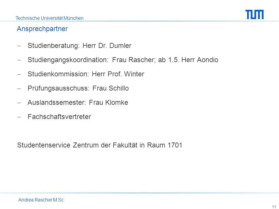 Studienberatung: Herr Dr. Dumler