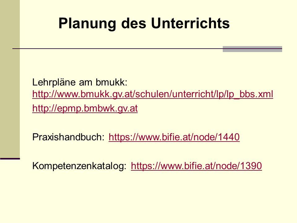 Planung des Unterrichts