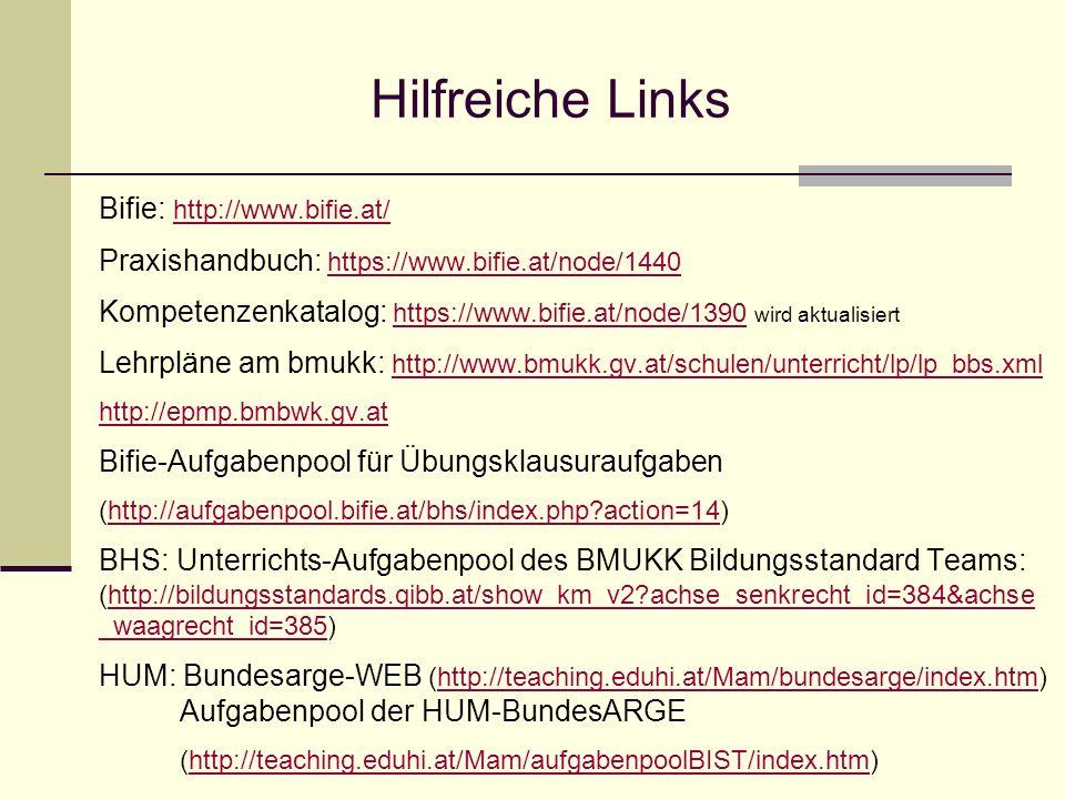 Hilfreiche Links Bifie: http://www.bifie.at/