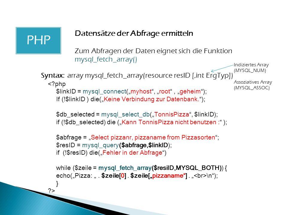 PHP PHP Datensätze der Abfrage ermitteln