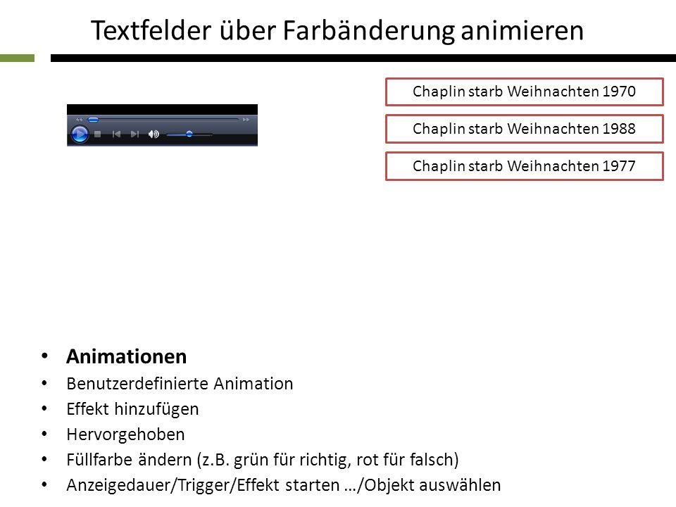 Textfelder über Farbänderung animieren