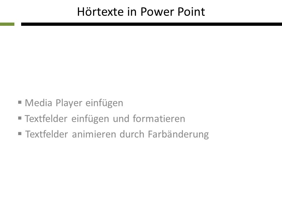 Hörtexte in Power Point