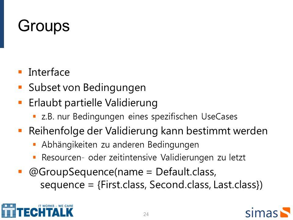 Groups Interface Subset von Bedingungen Erlaubt partielle Validierung