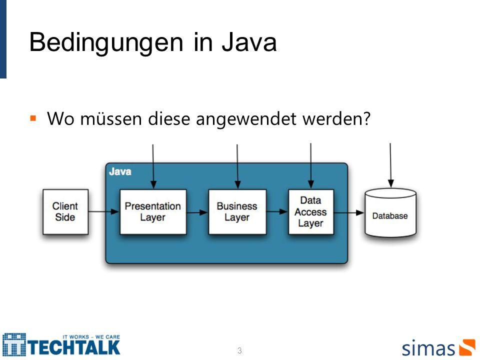 Bedingungen in Java Wo müssen diese angewendet werden