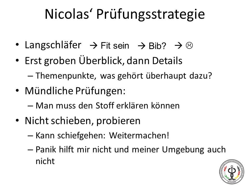 Nicolas' Prüfungsstrategie