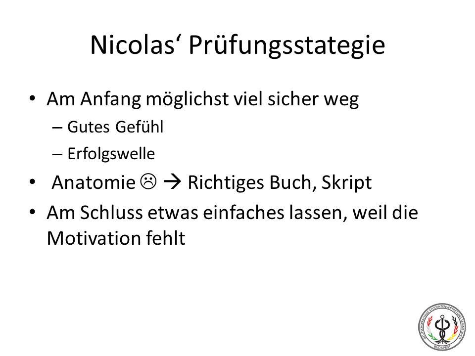 Nicolas' Prüfungsstategie