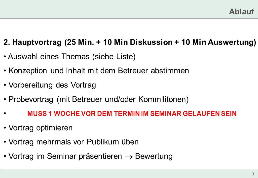 Ablauf 2. Hauptvortrag (25 Min. + 10 Min Diskussion + 10 Min Auswertung) Auswahl eines Themas (siehe Liste)