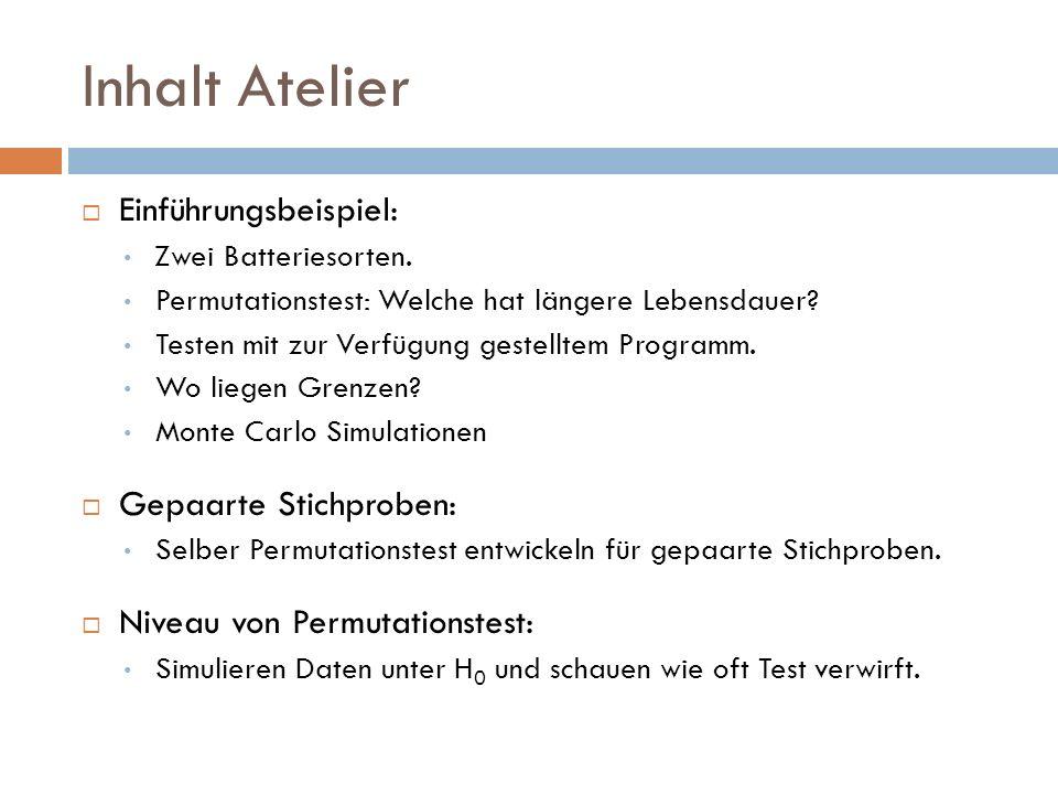 Inhalt Atelier Einführungsbeispiel: Gepaarte Stichproben: