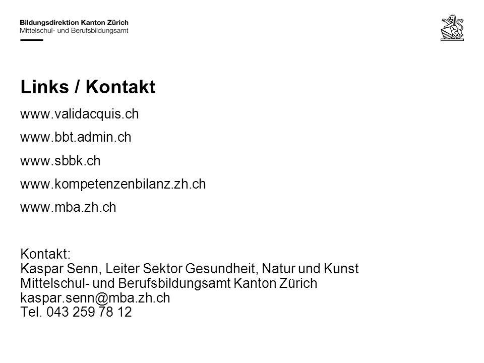 Links / Kontakt www.validacquis.ch www.bbt.admin.ch www.sbbk.ch