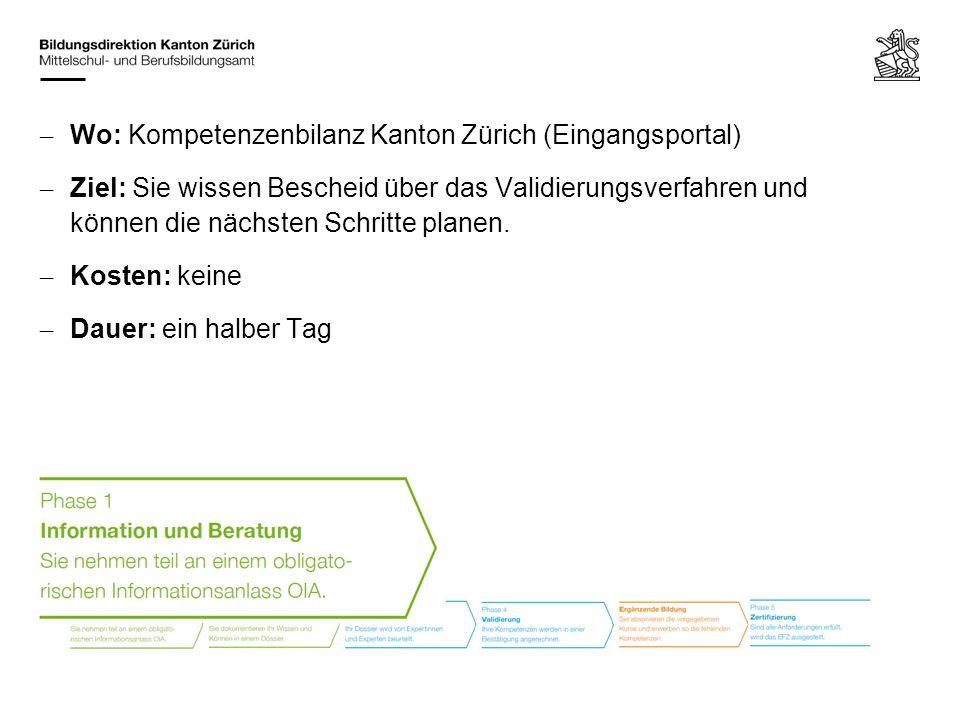 Wo: Kompetenzenbilanz Kanton Zürich (Eingangsportal)
