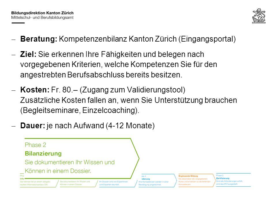 Beratung: Kompetenzenbilanz Kanton Zürich (Eingangsportal)