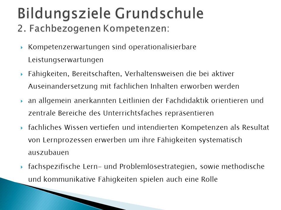 Bildungsziele Grundschule 2. Fachbezogenen Kompetenzen: