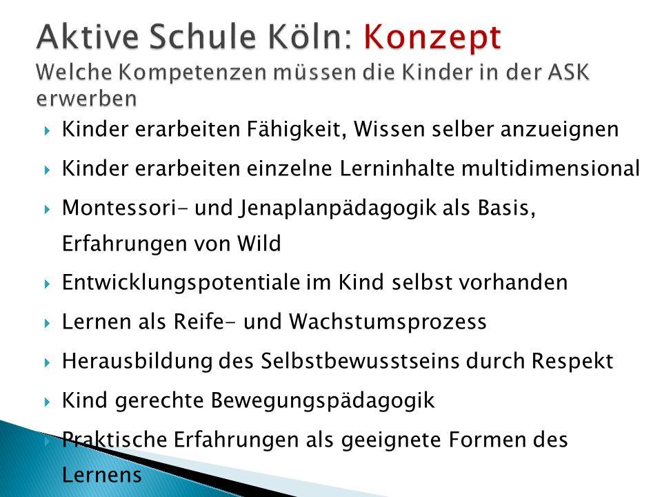 Aktive Schule Köln: Konzept Welche Kompetenzen müssen die Kinder in der ASK erwerben