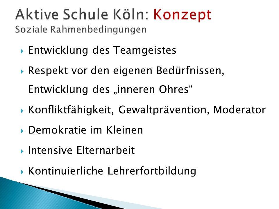 Aktive Schule Köln: Konzept Soziale Rahmenbedingungen