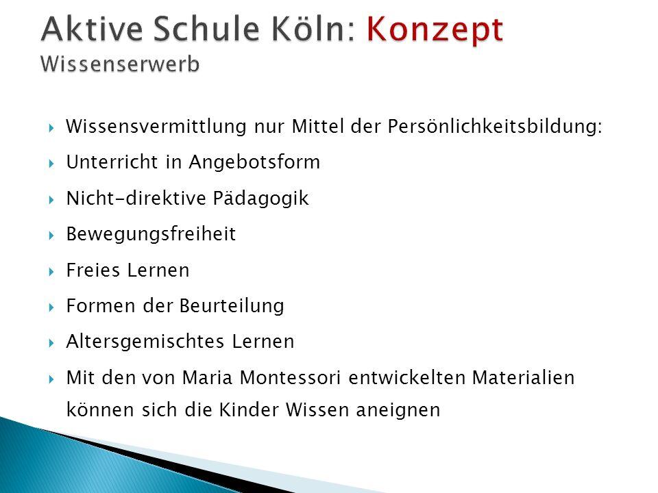 Aktive Schule Köln: Konzept Wissenserwerb