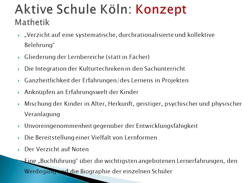 Aktive Schule Köln: Konzept Mathetik