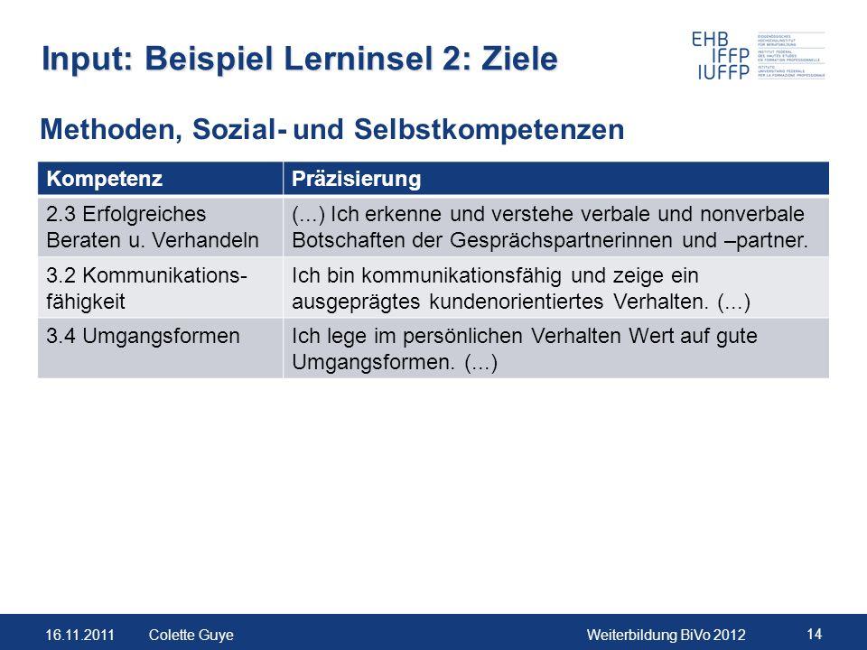 Input: Beispiel Lerninsel 2: Ziele