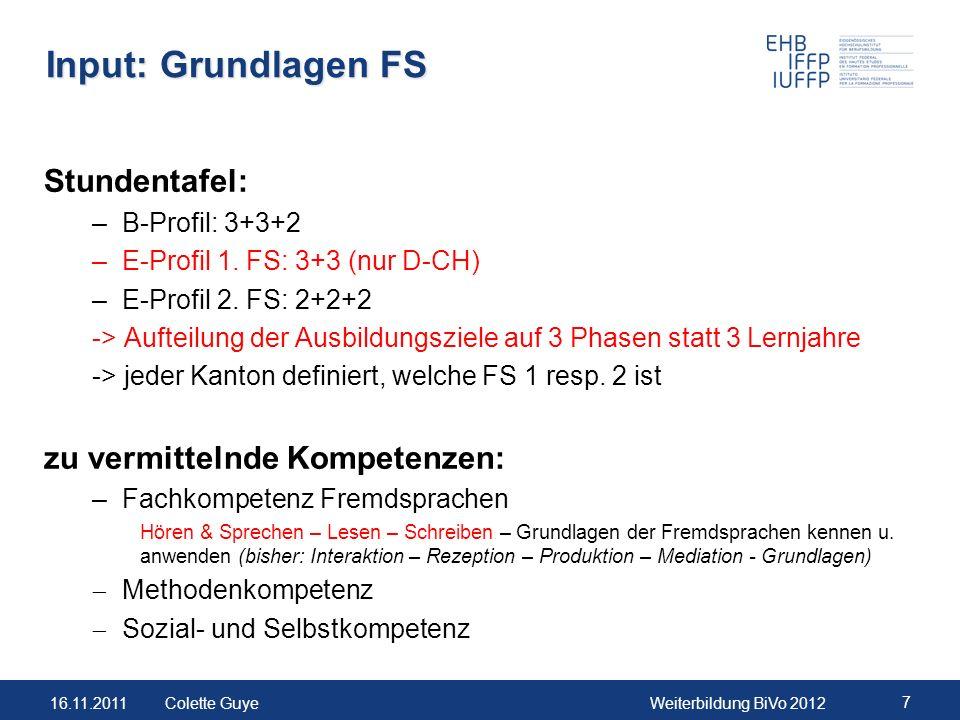 Input: Grundlagen FS Stundentafel: zu vermittelnde Kompetenzen:
