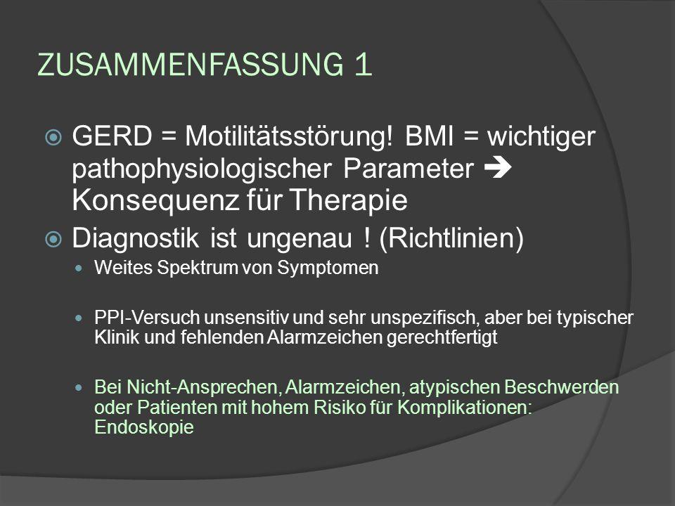 ZUSAMMENFASSUNG 1 GERD = Motilitätsstörung! BMI = wichtiger pathophysiologischer Parameter  Konsequenz für Therapie.