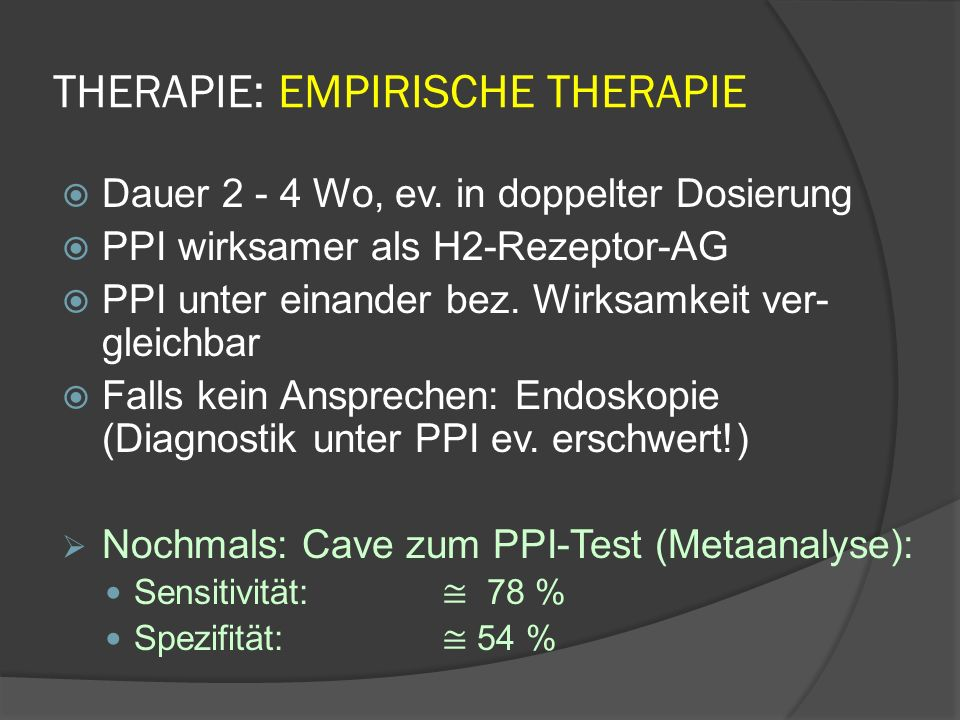 THERAPIE: EMPIRISCHE THERAPIE