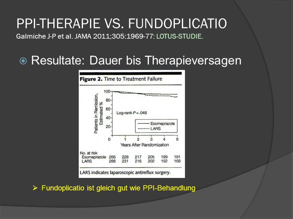 PPI-THERAPIE VS. FUNDOPLICATIO Galmiche J-P et al