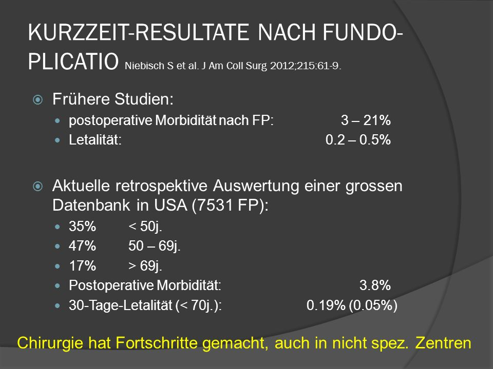 KURZZEIT-RESULTATE NACH FUNDO-PLICATIO Niebisch S et al
