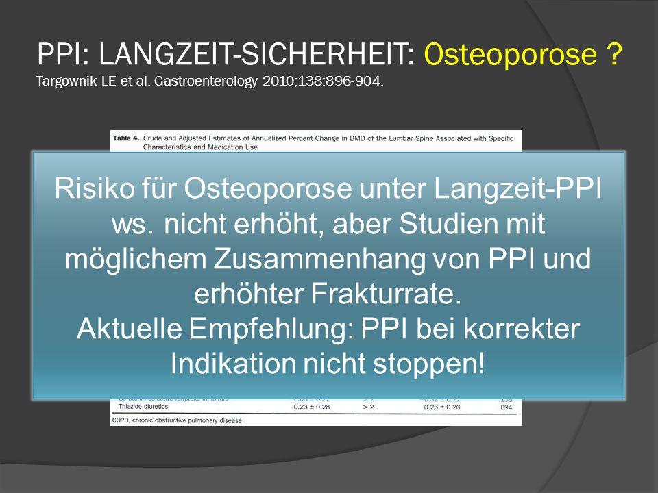 Aktuelle Empfehlung: PPI bei korrekter Indikation nicht stoppen!