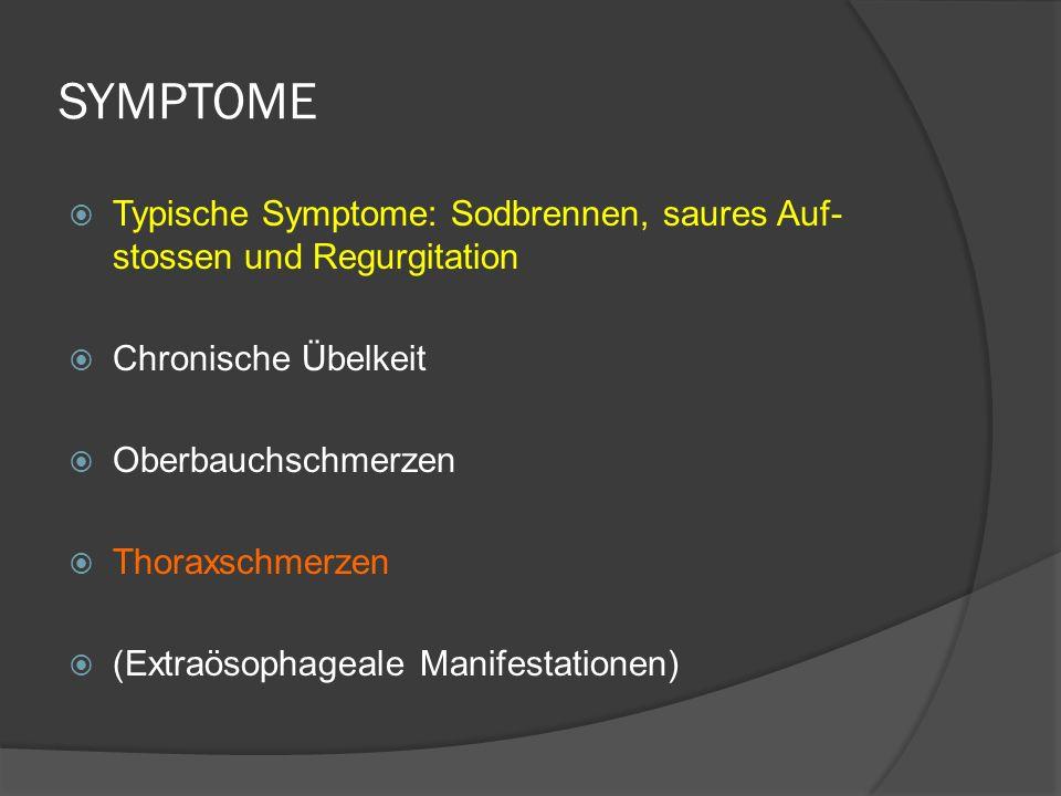 SYMPTOME Typische Symptome: Sodbrennen, saures Auf-stossen und Regurgitation. Chronische Übelkeit.