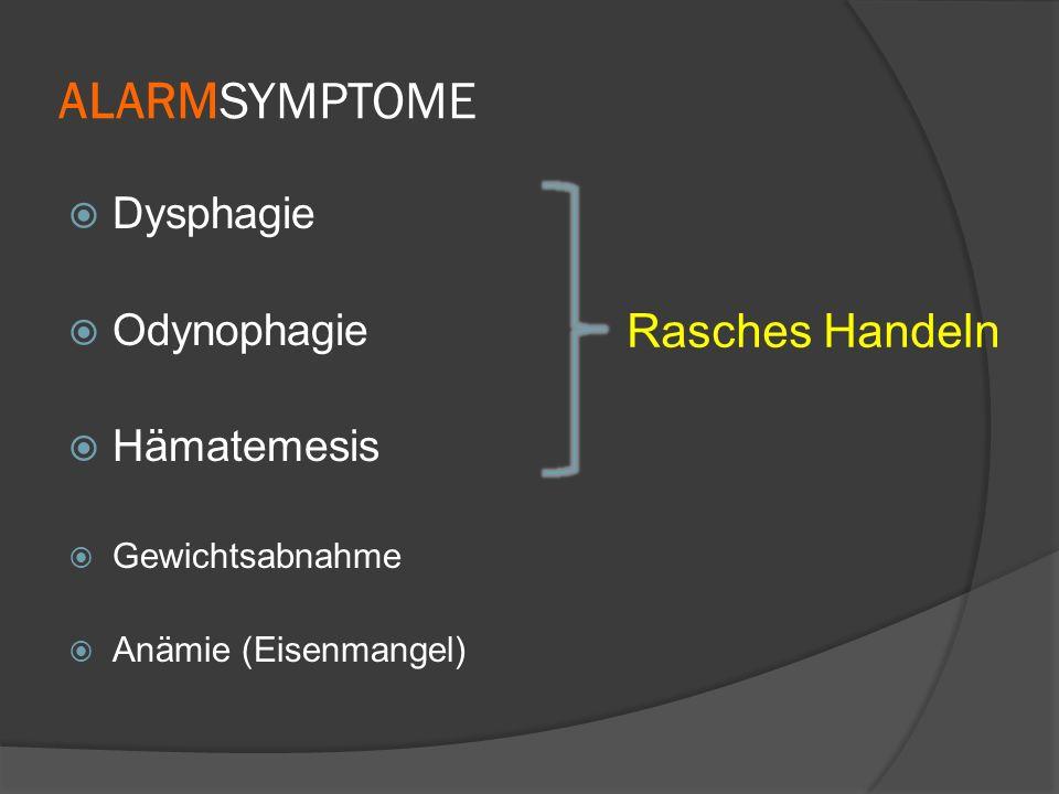 ALARMSYMPTOME Rasches Handeln Dysphagie Odynophagie Hämatemesis