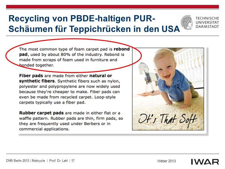 Recycling von PBDE-haltigen PUR-Schäumen für Teppichrücken in den USA