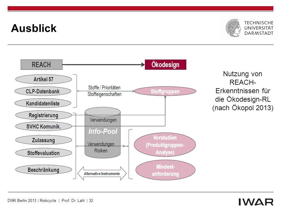 Ausblick Nutzung von REACH- Erkenntnissen für die Ökodesign-RL (nach Ökopol 2013) DNR Berlin 2013 | Riskcycle | Prof.
