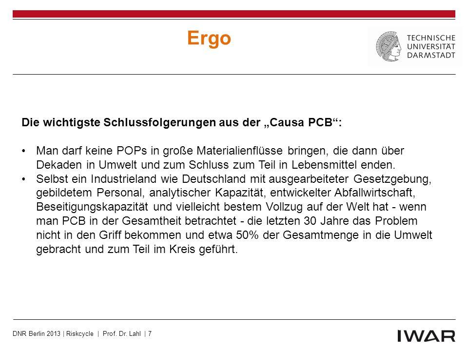 """Ergo Die wichtigste Schlussfolgerungen aus der """"Causa PCB :"""